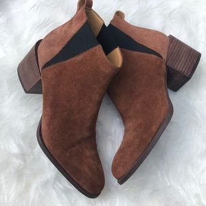 Nine West Brown Suede Stacked Heel Ankle Boots 7.5